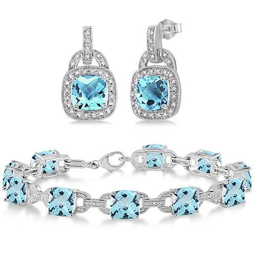 Blue Topaz Sterling Silver Bracelet & Earring Set