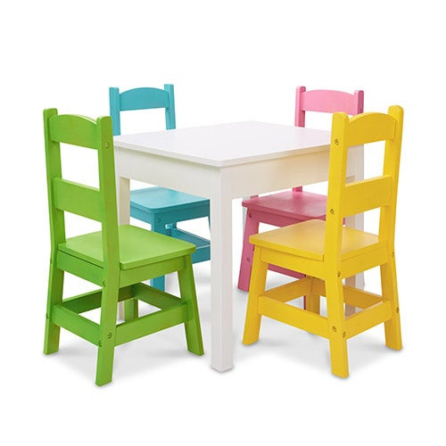 5pc Wooden Table & Chairs Set - White Table Pastel Chairs