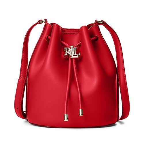 Andie Leather Medium Drawstring Bag Red