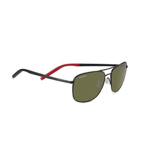 Spello Shiny Black/Red Sunglasses w/ Polarized 555nm Lens