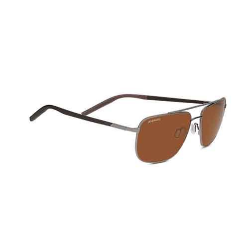 Tellaro Shiny Gun Metal/Dark Brown Sunglasses w/ Drivers