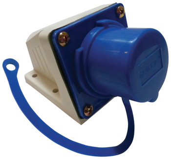 Eagle 230 V Blue 16 A 3 Contact High Current Angled Inlet Wall Mount Inc. Dust Cap