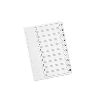 Q-Connect Index A4 Multi-Punched 1-10 Reinforced White Board Clear Tabbed KF01528