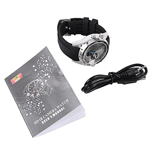 Generic TA Waterproof 1080P Camera Watch IR Record Video 16GB Night Vision Watch DVR 12MP -black