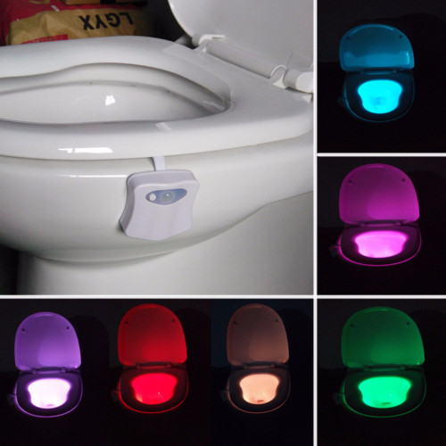 PIR Motion Sensor Toilet Seat Novelty LED lamp 8 Colors Auto Change Infrared Induction light Bowl For Bathroom lighting