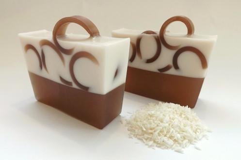 Coconut Cream soap slice