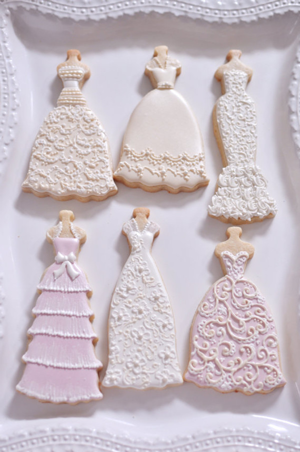 Decorated cookies by Marinold Cakes on etsy.  Fiona dress is pictured with Gwendolyn, Beatrice, Daisy, and Eva dresses (sold separately)