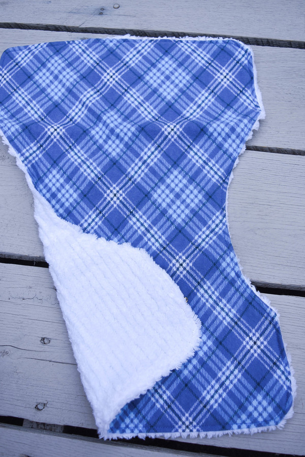 Blue Plaid Flannel Baby Burp Cloth