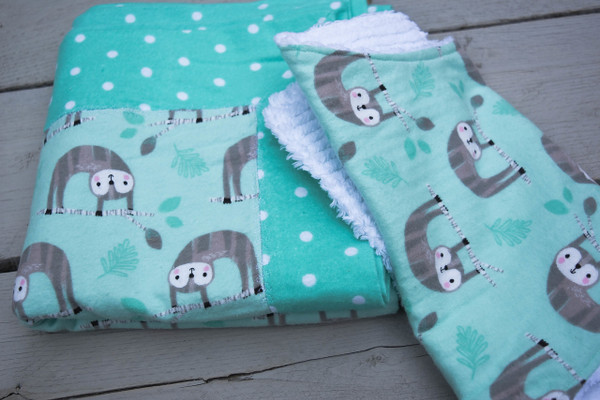 Green Sloth Flannel Baby Burp Cloth