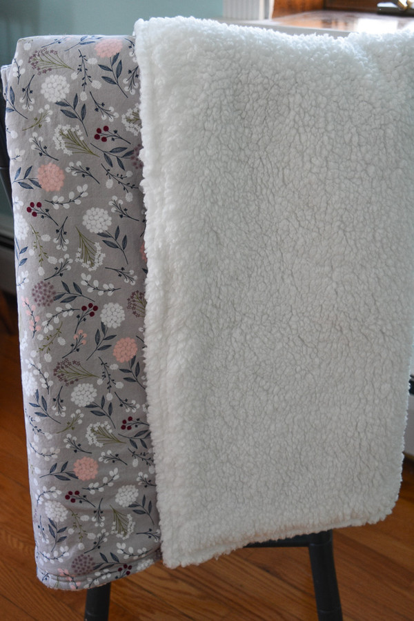Gray Floral Plush Baby Blanket