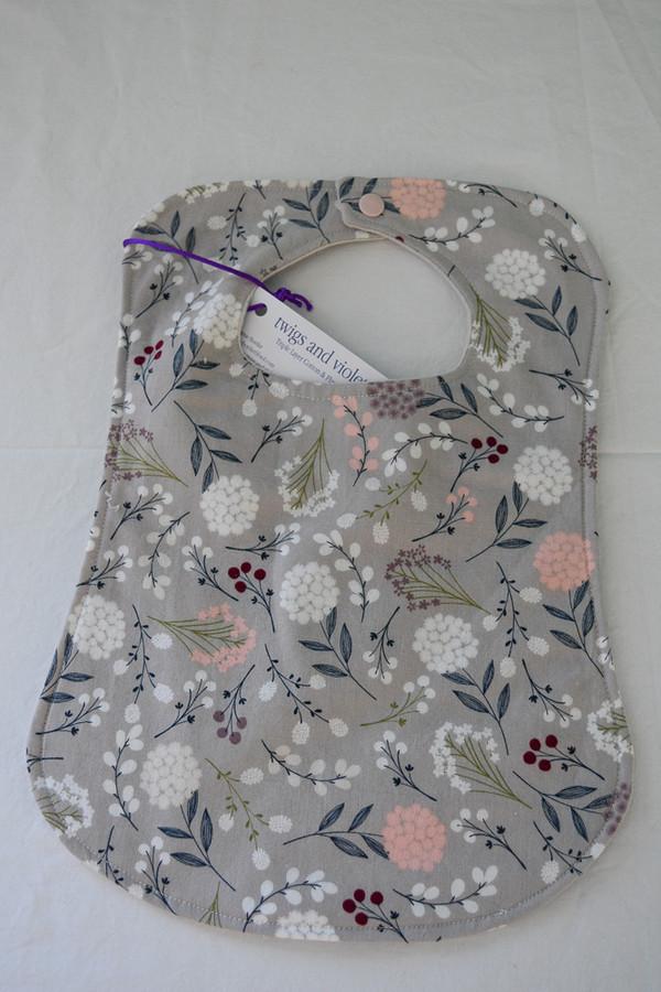 Gray Floral Baby Bib