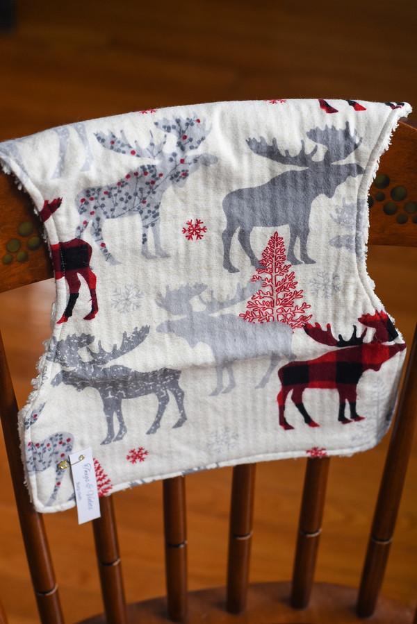 Moose Print Baby Burp Cloth
