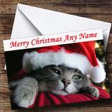 Cute Cat Wearing Xmas Hat Customised Christmas Card