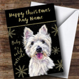 Cold Outside Snow Dog West Highland Terrier Customised Christmas Card
