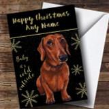 Cold Outside Snow Dog Daschund Customised Christmas Card