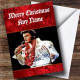 Red Elvis Presley Customised Christmas Card
