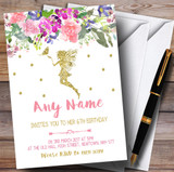 Floral Gold Fairy Children's Birthday Party Invitations