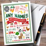Fun On The Farm Animals Children's Birthday Party Invitations
