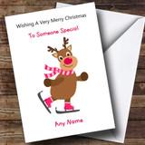 Cartoon Reindeer Children's Customised Christmas Card