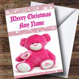 Pink Teddy Bear Customised Christmas Card