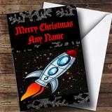 Space Rocket Customised Christmas Card
