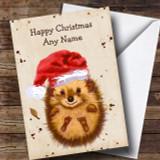 Cute Watercolour Hedgehog Santa Hat Customised Children's Christmas Card
