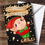 Golden Confetti Elf Customised Children's Christmas Card