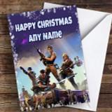 Purple Fortnite Game Customised Children's Christmas Card