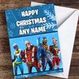 Blue Fortnite Game Customised Children's Christmas Card