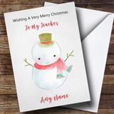 Teacher Doodle Watercolour Snowman Customised Christmas Card