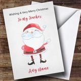 Teacher Doodle Watercolour Santa Customised Christmas Card