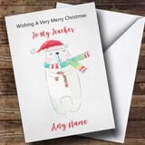 Teacher Doodle Watercolour Polar Bear Customised Christmas Card