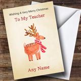 Teacher Cute Watercolour Reindeer Customised Christmas Card