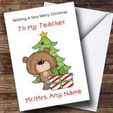 Teacher Cartoon With Present & Tree Customised Christmas Card