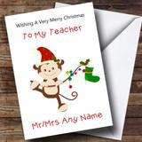Teacher Cartoon Monkey Customised Christmas Card
