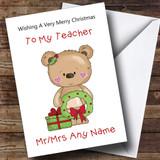 Teacher Cartoon Bear With Wreath Customised Christmas Card