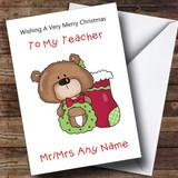 Teacher Cartoon Bear With Stocking Customised Christmas Card