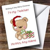 Teacher Cartoon Bear With Present Customised Christmas Card