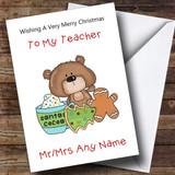 Teacher Cartoon Bear With Gingerbread Man Customised Christmas Card