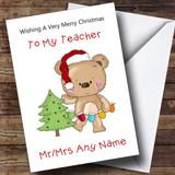 Teacher Cartoon Bear Decorating The Tree Customised Christmas Card