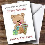 Teacher Cartoon Bear Christmas Ornaments Customised Christmas Card