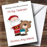 Teacher Cartoon Bear & Santa Customised Christmas Card