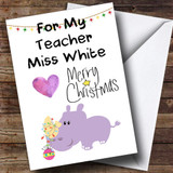 For My Teacher Purple Hippo Customised Christmas Card