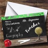 Geography Teacher Customised Christmas Card