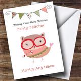 Doodle Owl Teacher Customised Christmas Card