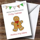 Doodle Gingerbread Man Teacher Customised Christmas Card