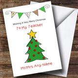 Doodle Christmas Tree Teacher Customised Christmas Card