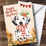 Gold Foliage Dalmatian Dog Customised Cute Christmas Card