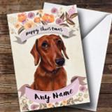 Rustic Gold Dog Dachshund Customised Cute Christmas Card