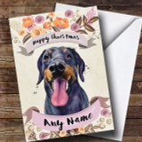 Rustic Gold Dog Doberman Customised Cute Christmas Card